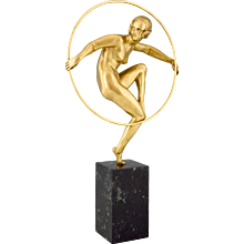 French Art Deco gilt bronze hoop dancer nude Andre Marcel Bouraine, 1930