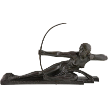 Art Deco bronze by Marcel Bouraine, nude with bow Diana, 1930