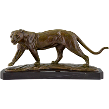 Art Deco bronze panther sculpture by R. Sarat, France 1930