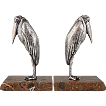 French Art Deco silvered bronze marabou bookends by Claude, Marcel Guillemard, 1930