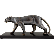 French Art Deco Sculpture Of Walking Panther by Emile Louis Bracquemond, 1930