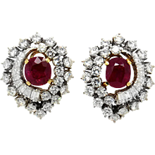 Italian Pair of Ruby and Diamond Earrings