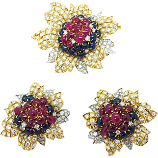 1980s Massoni Ruby, Sapphire and Diamond Set