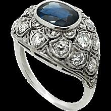 Italian 1970s Sapphire and Platinum ring