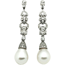 1960-70s Diamond and Pearl Earrings