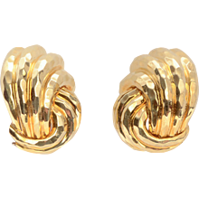 Henry Dunay Hammered Gold Earrings