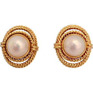 Tiffany Gold and Mabe Pearl Earrings