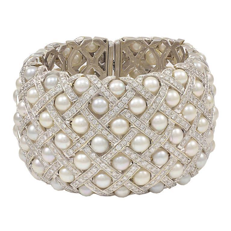 Wide Pearl Diamond Cuff Bracelet From Gem De La Gem On Rubylux