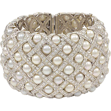 Wide Pearl Diamond Cuff Bracelet