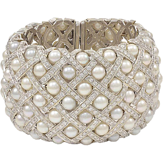 Wide Pearl Diamond Cuff Bracelet