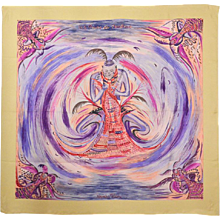 Hermes Asian Inspired Silk Scarf