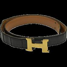 "Vintage Hermes Crocodile ""H"" Belt"