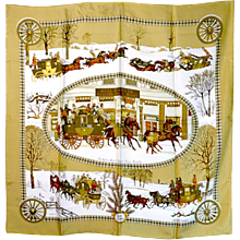 Hermes Winter Motif Silk Scarf