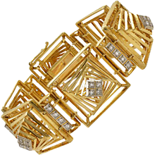 Lalaounis Diamond Gold Geometric Bracelet