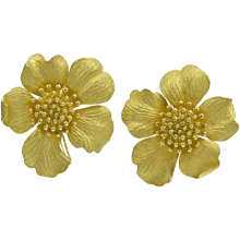 Tiffany & Co. Huge Gold Wild Rose Ear Clips