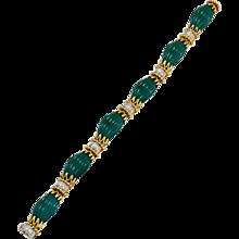 Van Cleef & Arpels Carved Chrysophrase Diamond Gold Link Bracelet