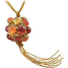 Virginia Witbeck Fire Opal Diamond Ball Pendant