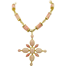 Virginia Witbeck Natural Coral Gold Cross Pendant Necklace