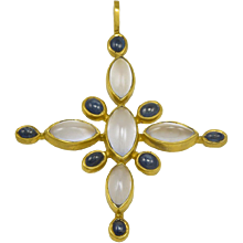 Virginia Witbeck Chalcedony Sapphire Gold Cross Pendant