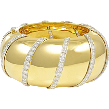 Wide Diamond Gold Bangle