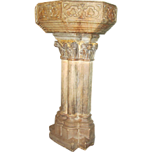 """French Gothic Carved Stone Benitier """"Architectural element"""""""