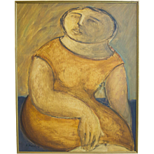 Arnaldo Miccoli Figural Oil on Panel