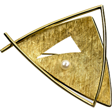 Chris Steenbergen 14K Gold Brooch - Mid Century Netherlands