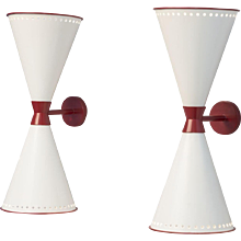 "Jean Royere pair of ""diabolo"" wall lights"
