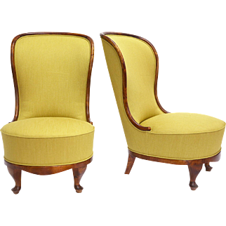 Pair of Slipper Chairs by Tor Wolfenstein, Sweden Early 1940s