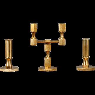 A set of Brass Candleholders by Lars Bergsten for Gusum, Sweden 1966