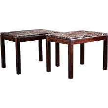 A pair of Side Tables in Rosewood an red marble, Denmark 1970's.