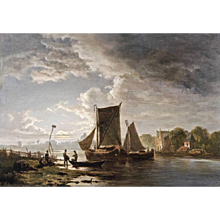 Evening atmosphere with people and sailing boats on the water