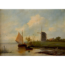 Polder landscape with windmill and sailing boat