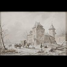 Winter landscape with figures at a castle