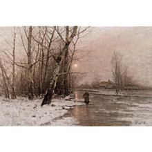 Country Woman walking across the ice by moonlight