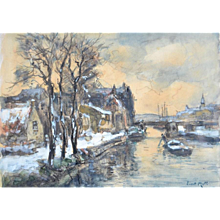 River landscape in the snow