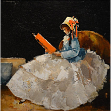 Elegant lady reading