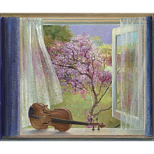 Bedroom window with violin and Hill Cherry