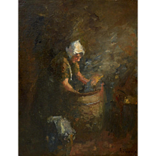 Farmer's wife working at the washtub