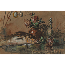 Still life with fish, decanter and stoneware vase with flowers