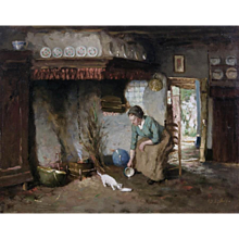 Farmhouse interior; a woman feeds milk to a kitten in front of an open fire