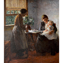 Interior; mother with a girl on her lap