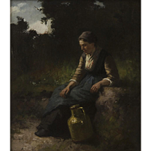 Musing country woman with pitcher