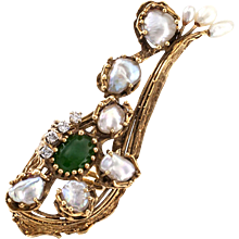 Unique and Large Estate Pearl Diamond and Jade Ring
