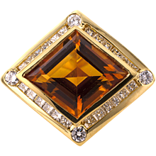 Modernistic Estate Citrine and Diamond Ring