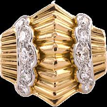 Retro Gold Platinum and Diamond Ring