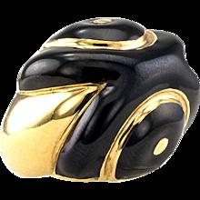 David Webb Estate Black Enamel Gold Ring