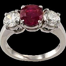 Unheated Burma Ruby and Diamond Three Stone Ring