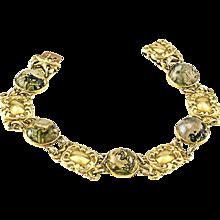 1905 Art Nouveau Moss Agate and Gold Bracelet