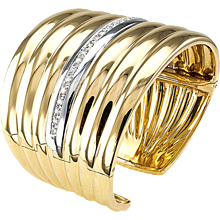 Wide Gold and Diamond Hinged Cuff Bracelet.